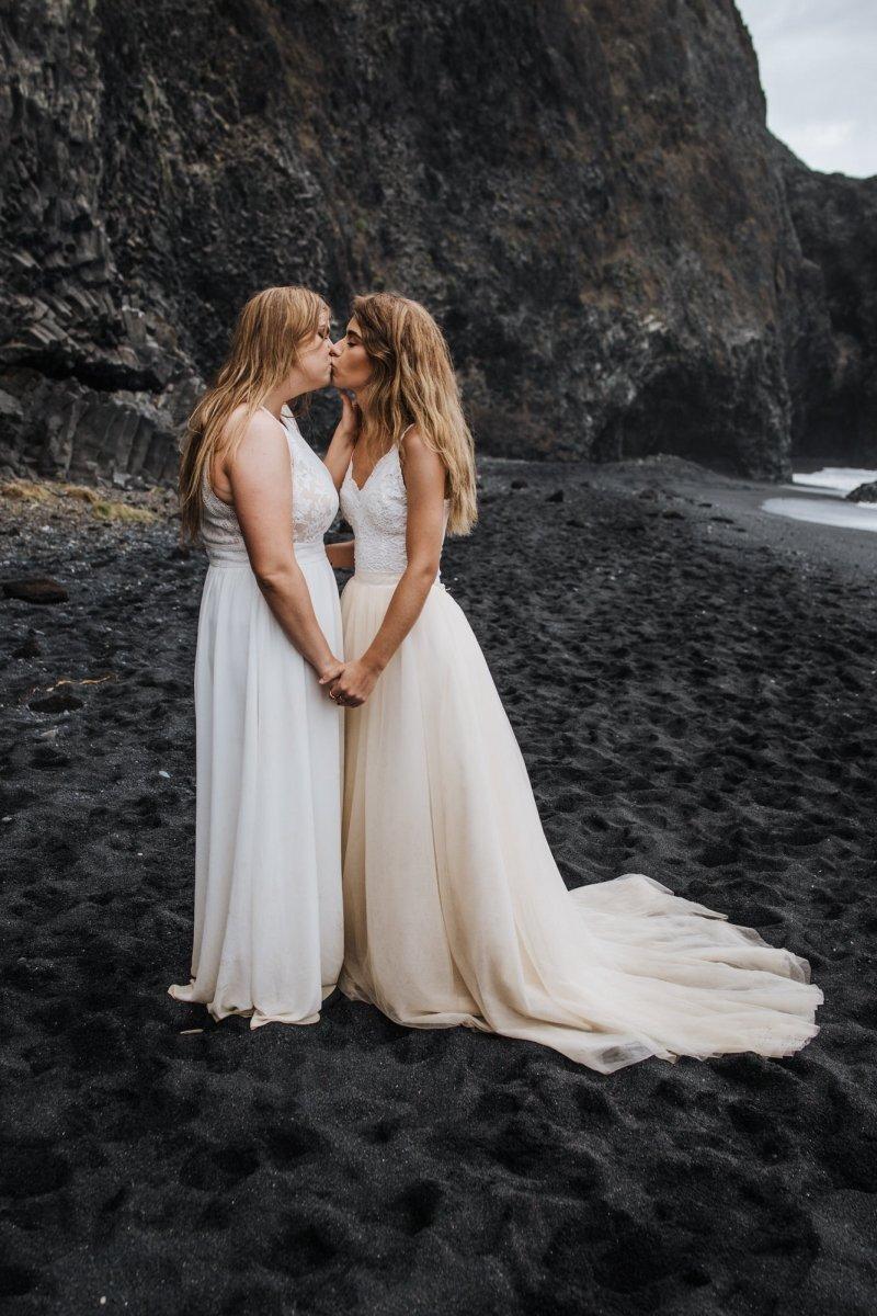 Bridal portrait in Iceland kissing.