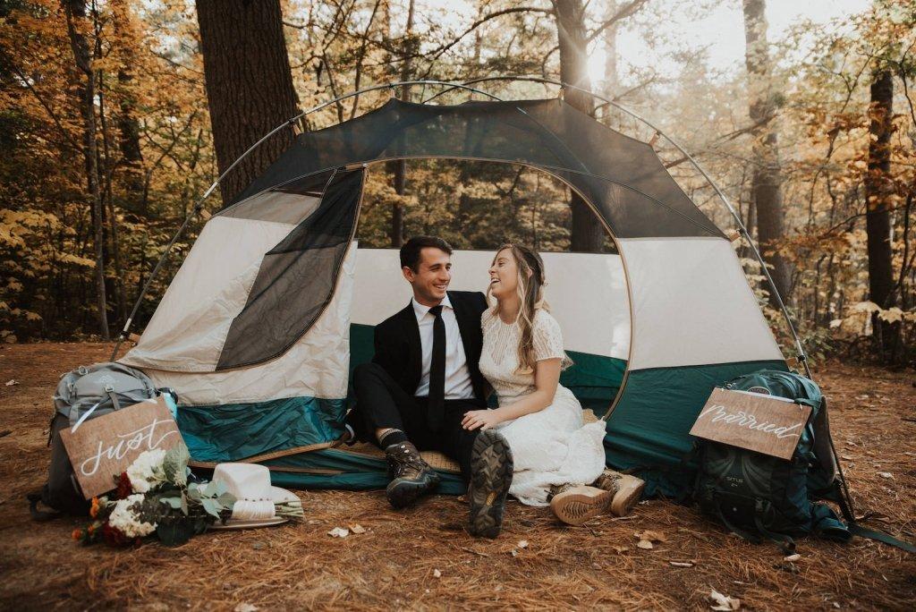 camping elopement portrait