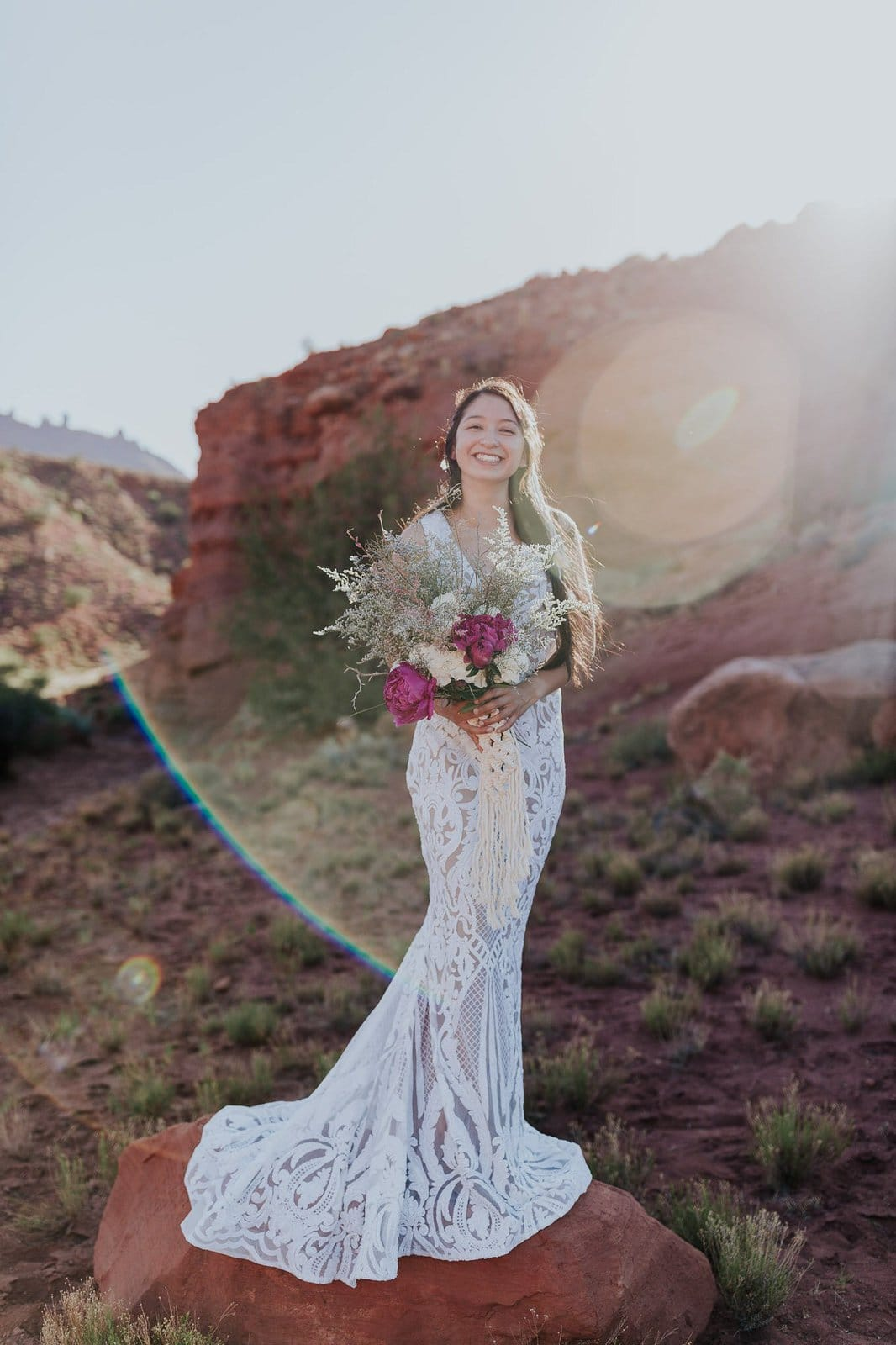 Bridal portrait at Utah mountains.