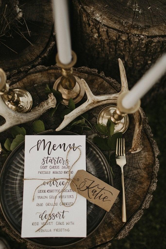rustic wedding menu seating.