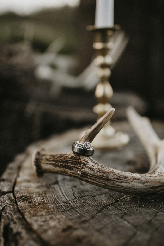 Detail photography of rings for boho wedding.