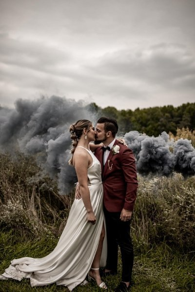 Intimate wedding photography of bride and groom.