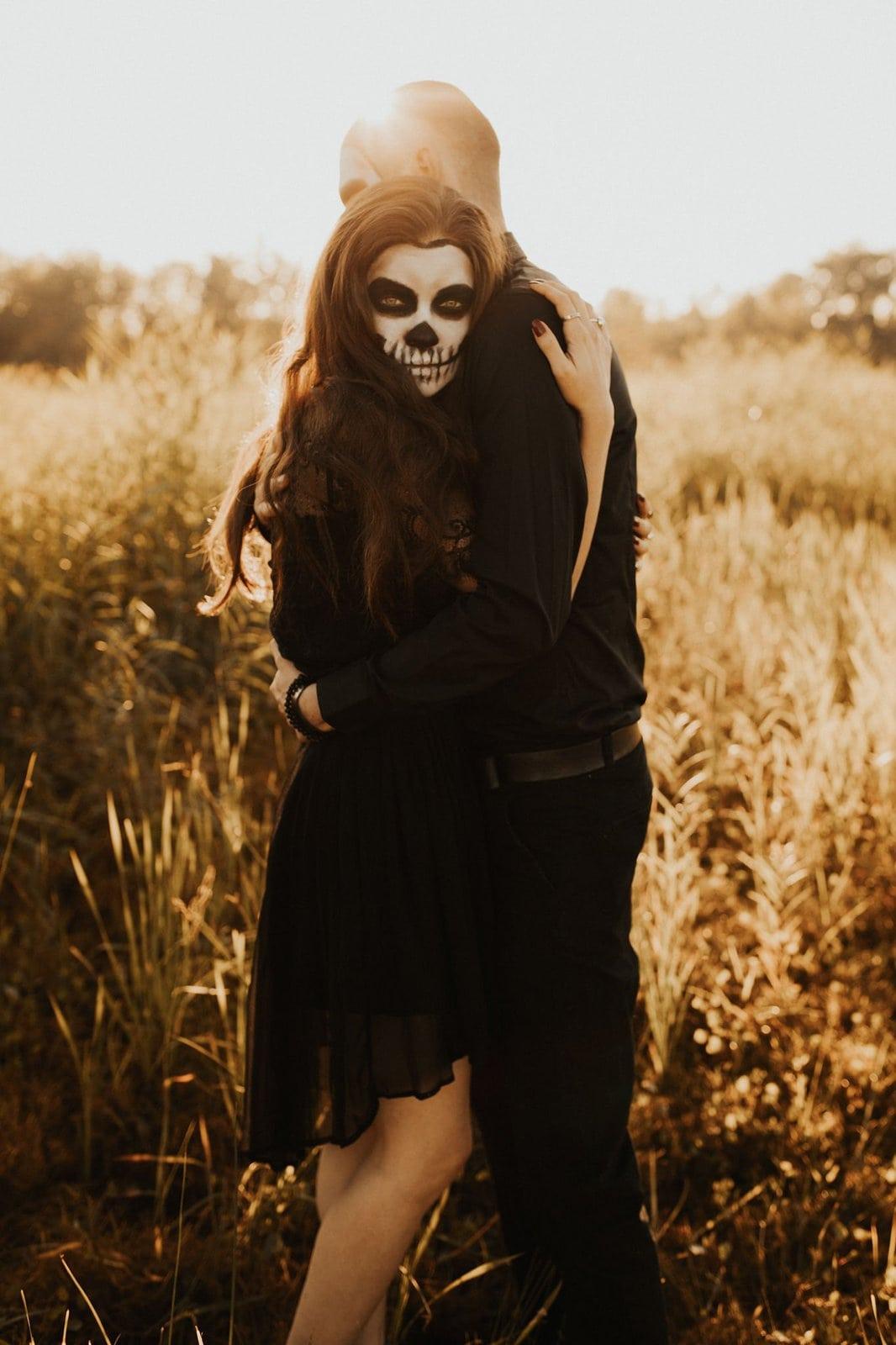 skeleton face paint for halloween.