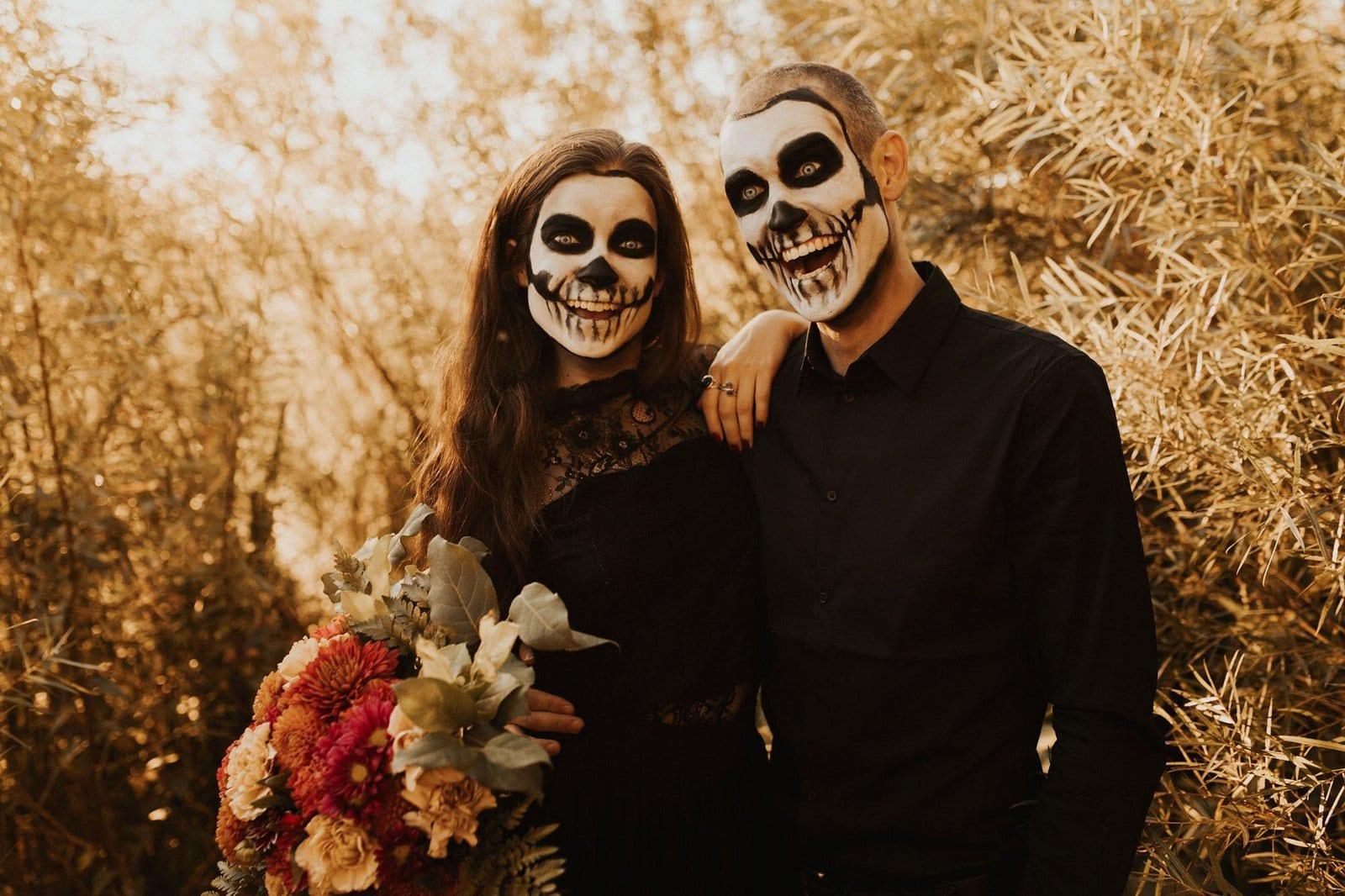 Smiling skeleton faces for Halloween.