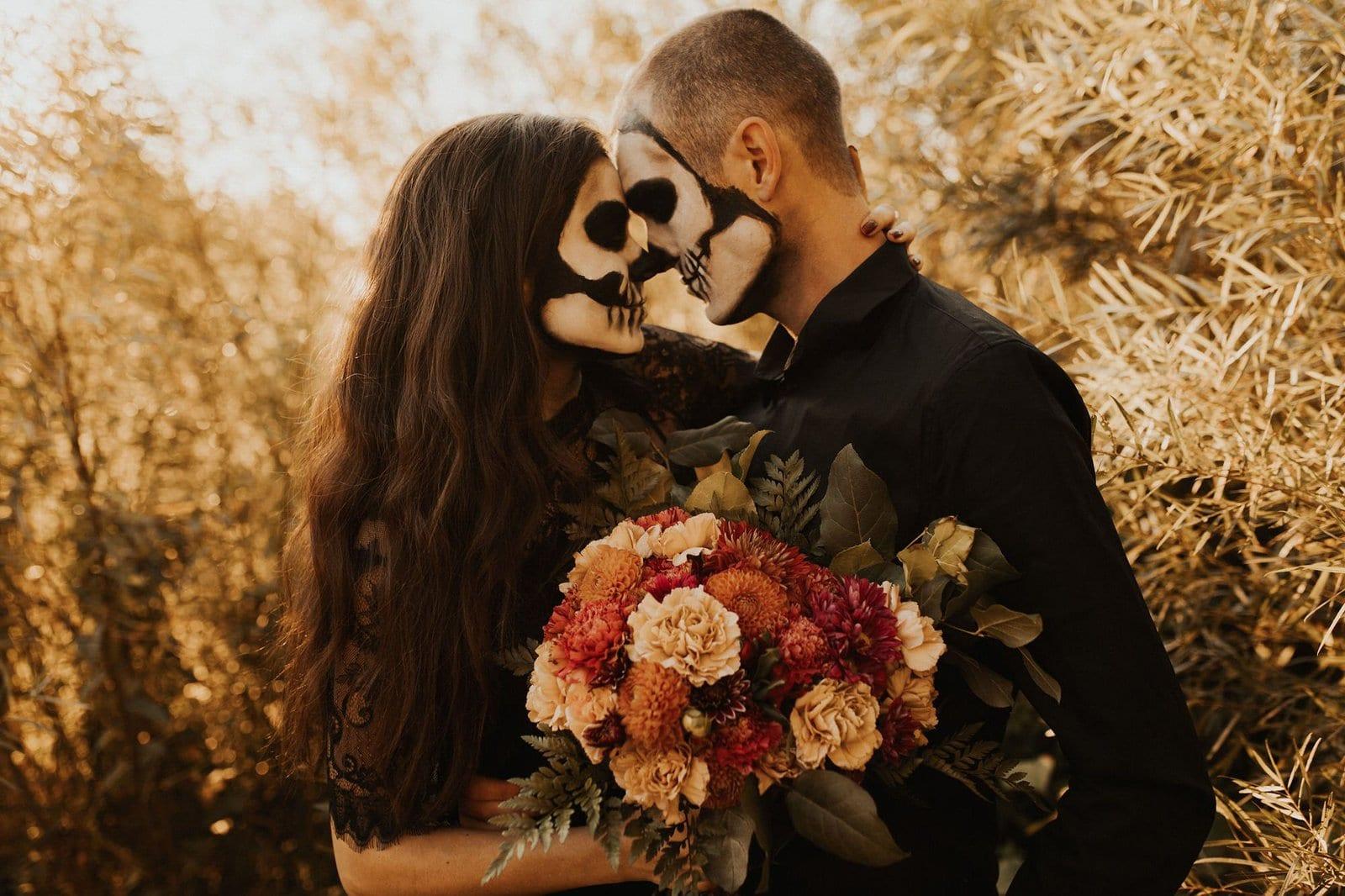 romantic skeleton couple session.