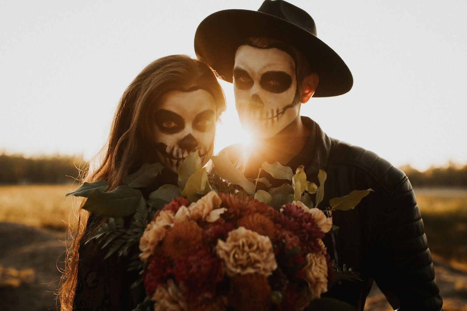 sunset shot of skeleton couple.