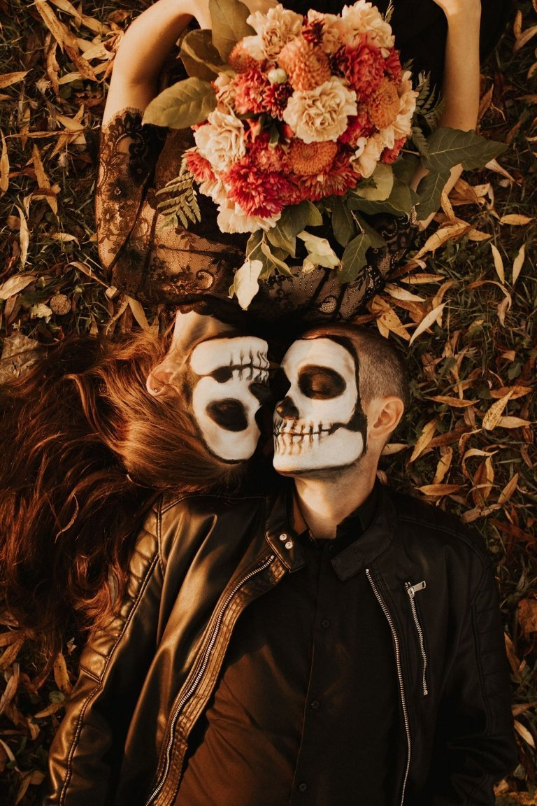 Skeleton couple elopement.