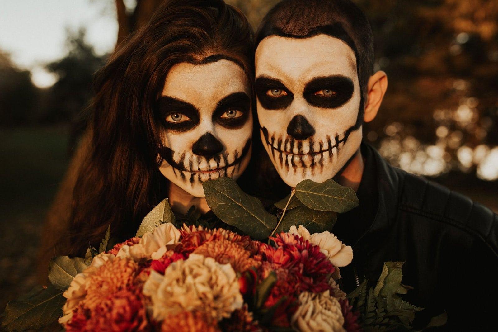 skeleton makeup on couple.