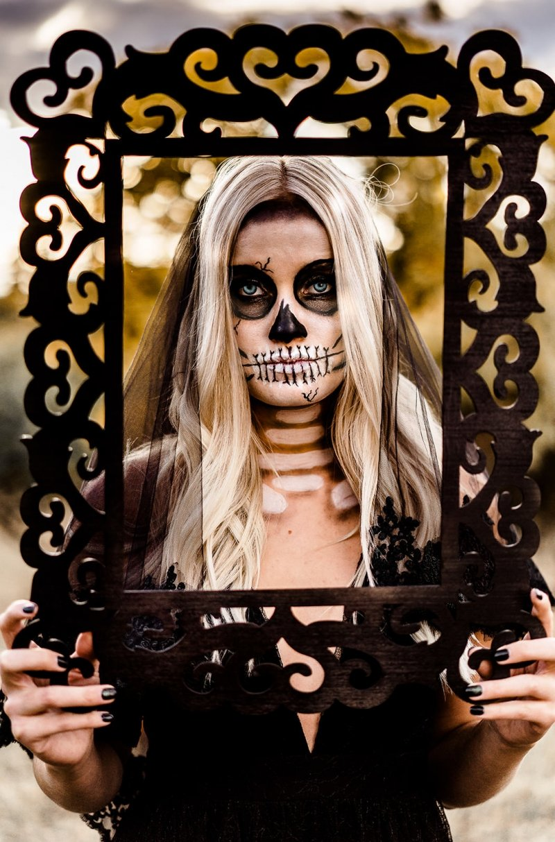 Bridal portrait of Halloween style shoot.