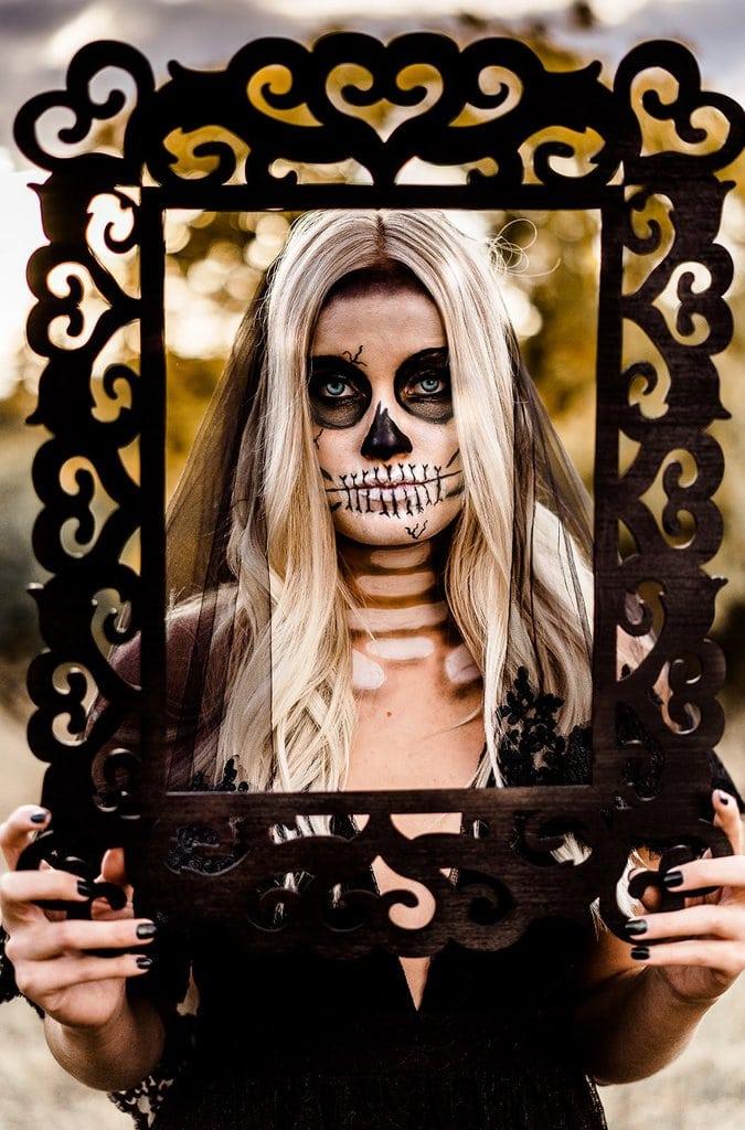Bridal portrait of Halloween style shoot.
