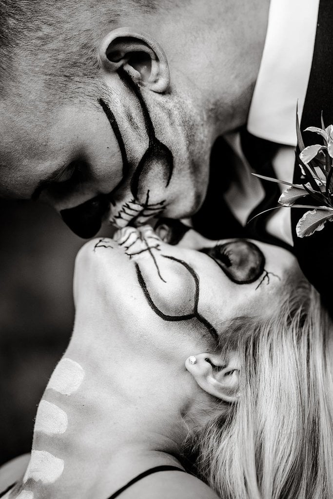 Black and white halloween elopement photography.