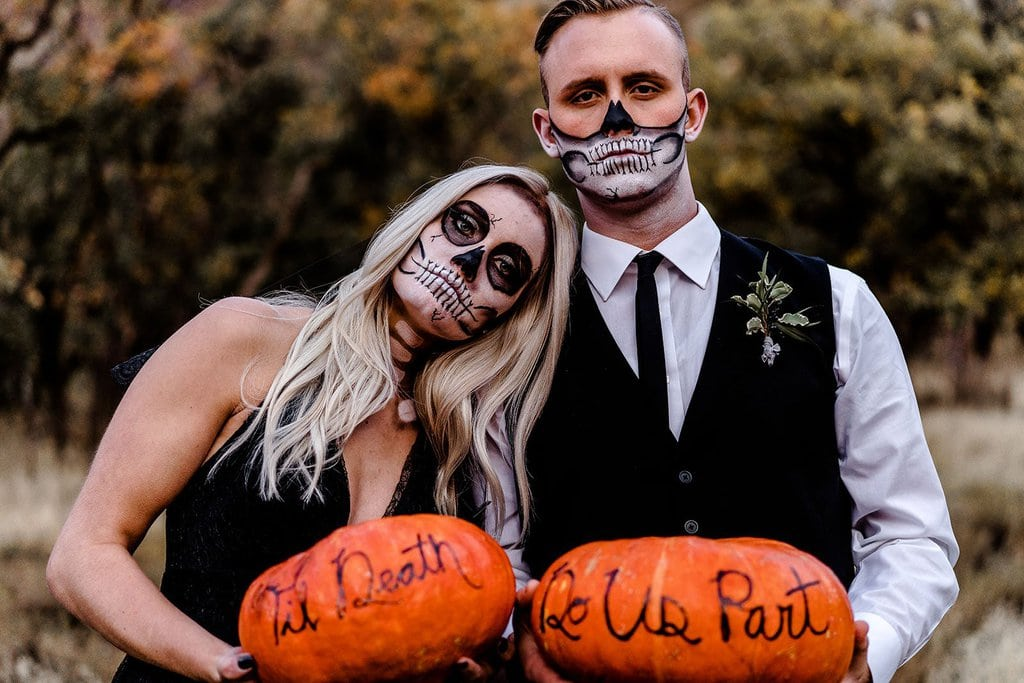 Wedding photography with pumpkins.