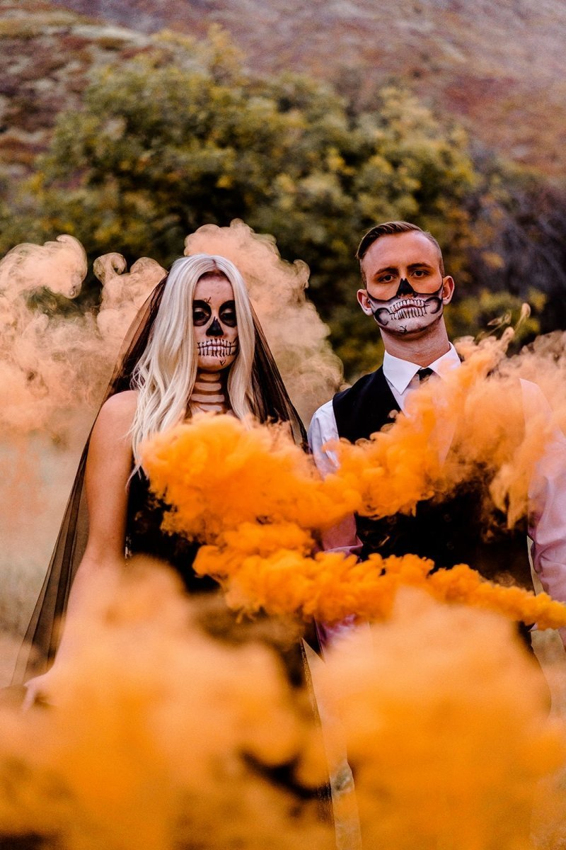 orange smoke bomb for Fall elopement.