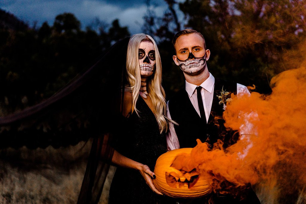 Couple at sunset for Halloween shoot.