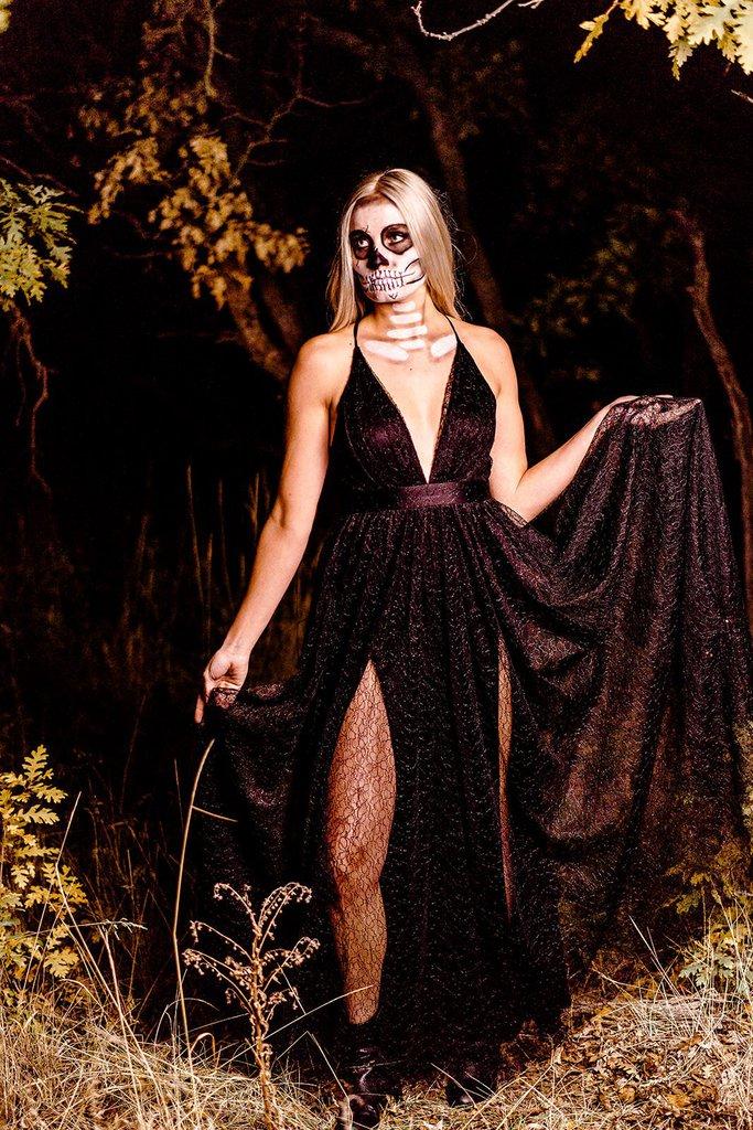 black wedding dress with Halloween bride
