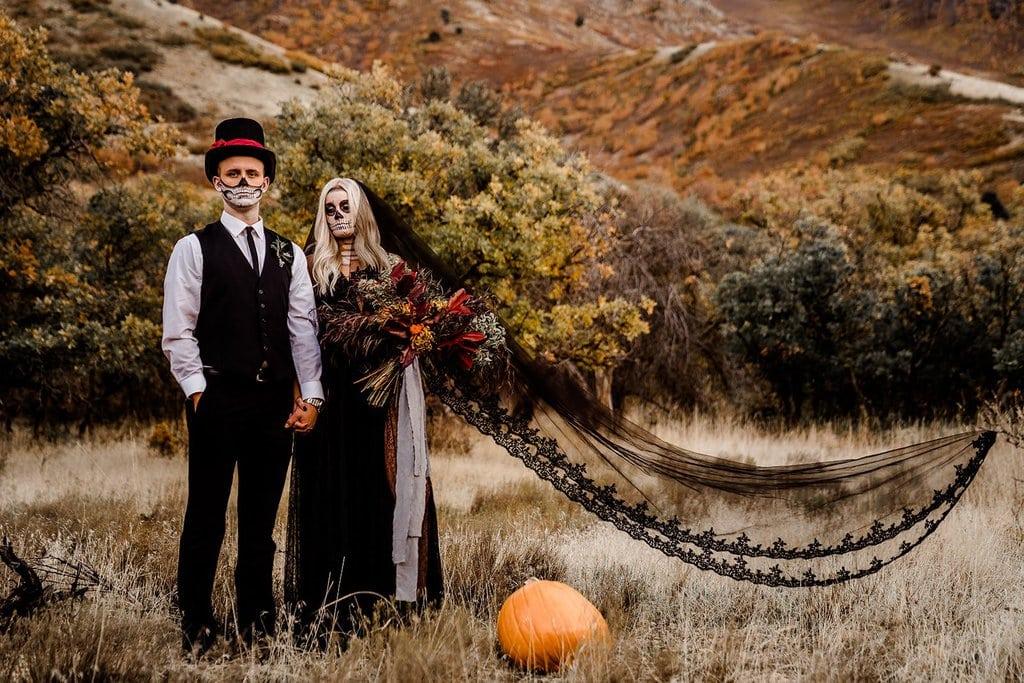 Intimate elopement Halloween inspiration.