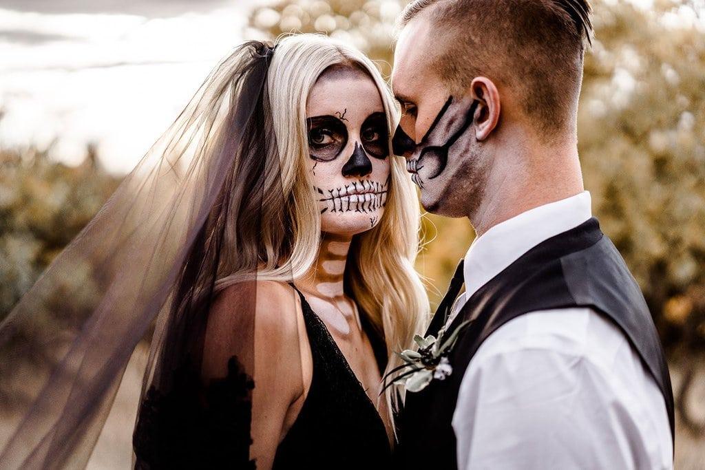 Bride and groom halloween intimate wedding.