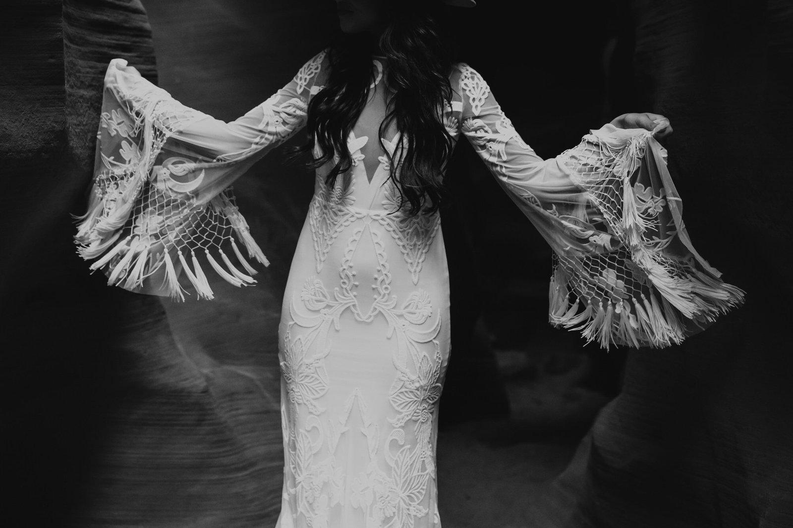 Detail shot of rue de seine wedding dress.