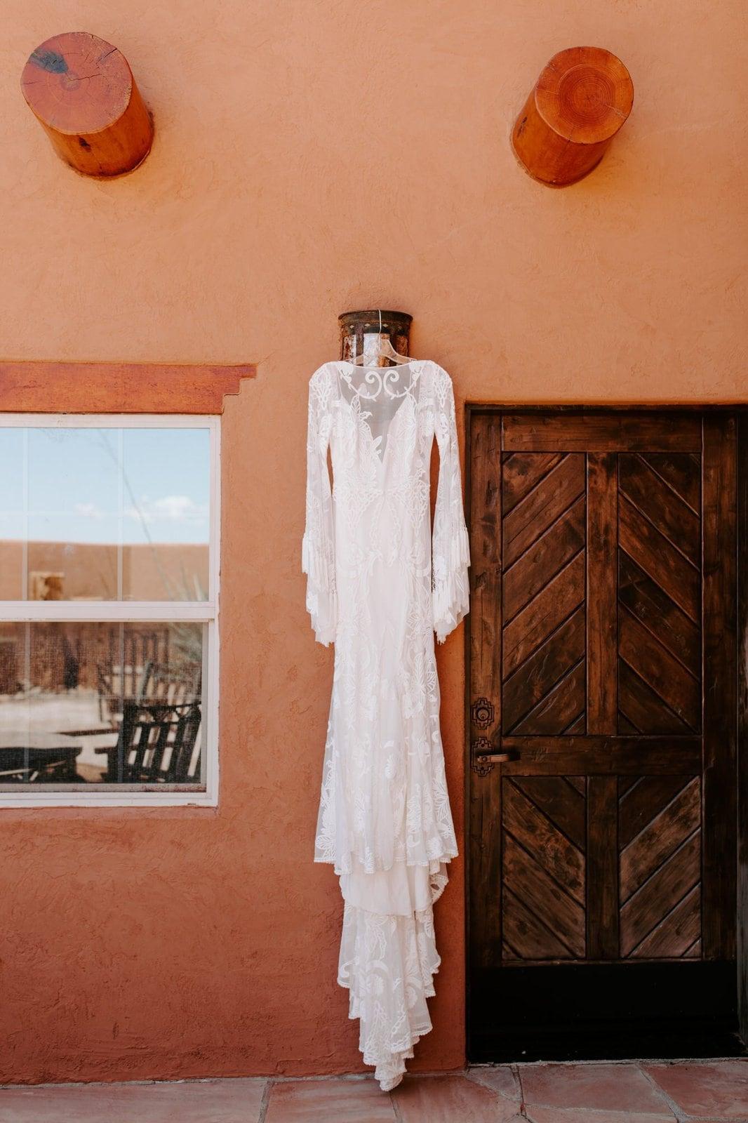 rue de seine wedding dress detail shot.