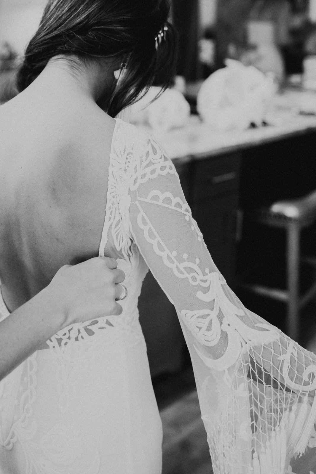 detail photography of bride and her bridal dress.