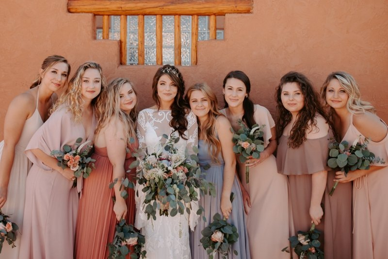 Detail shot of bride and her bridesmaids.