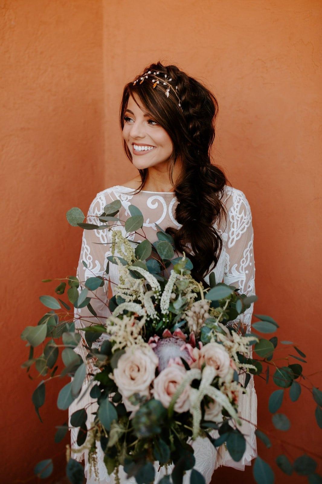 Bridal portrait with wedding bouquet.