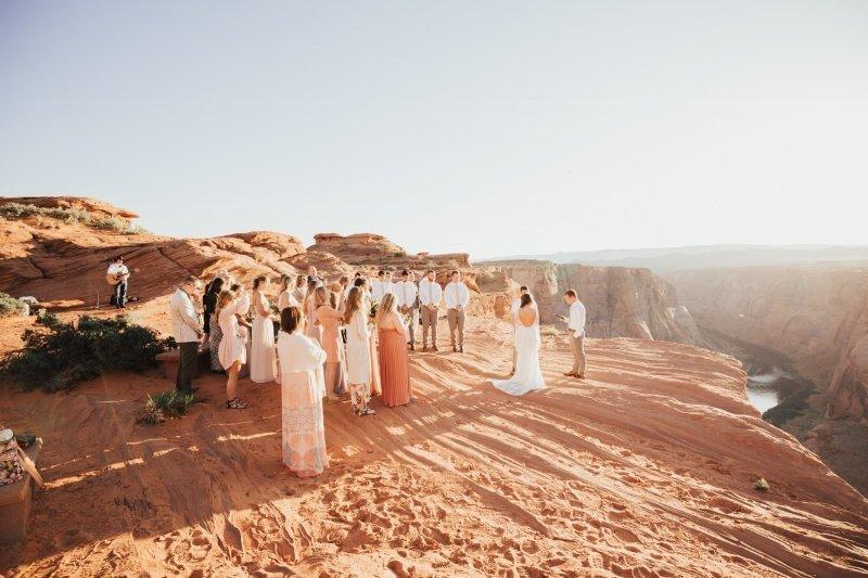 Wedding ceremony at Horseshoe Bend in Arizona.