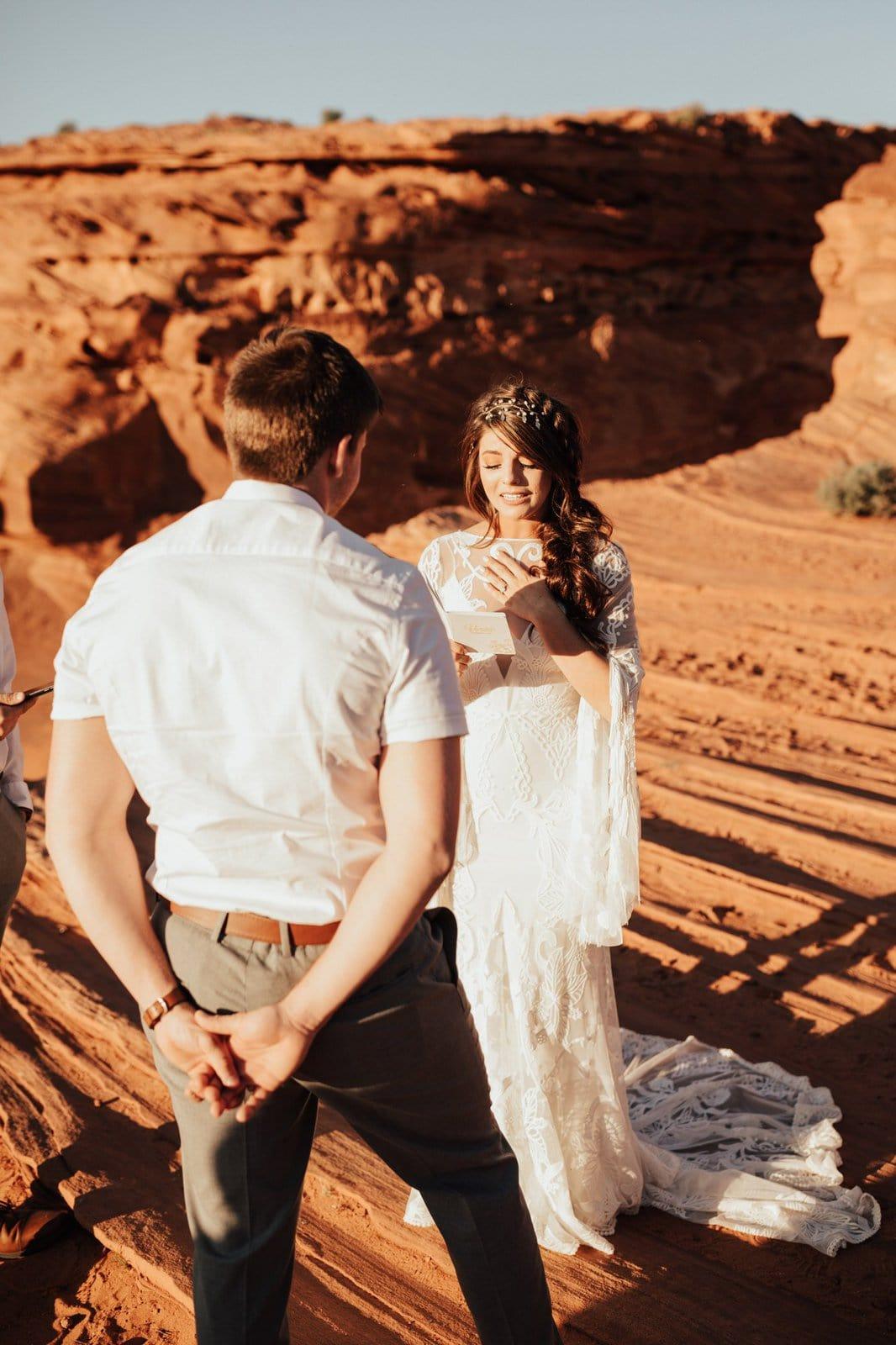 bride exchanging vows at Antelope Canyon.