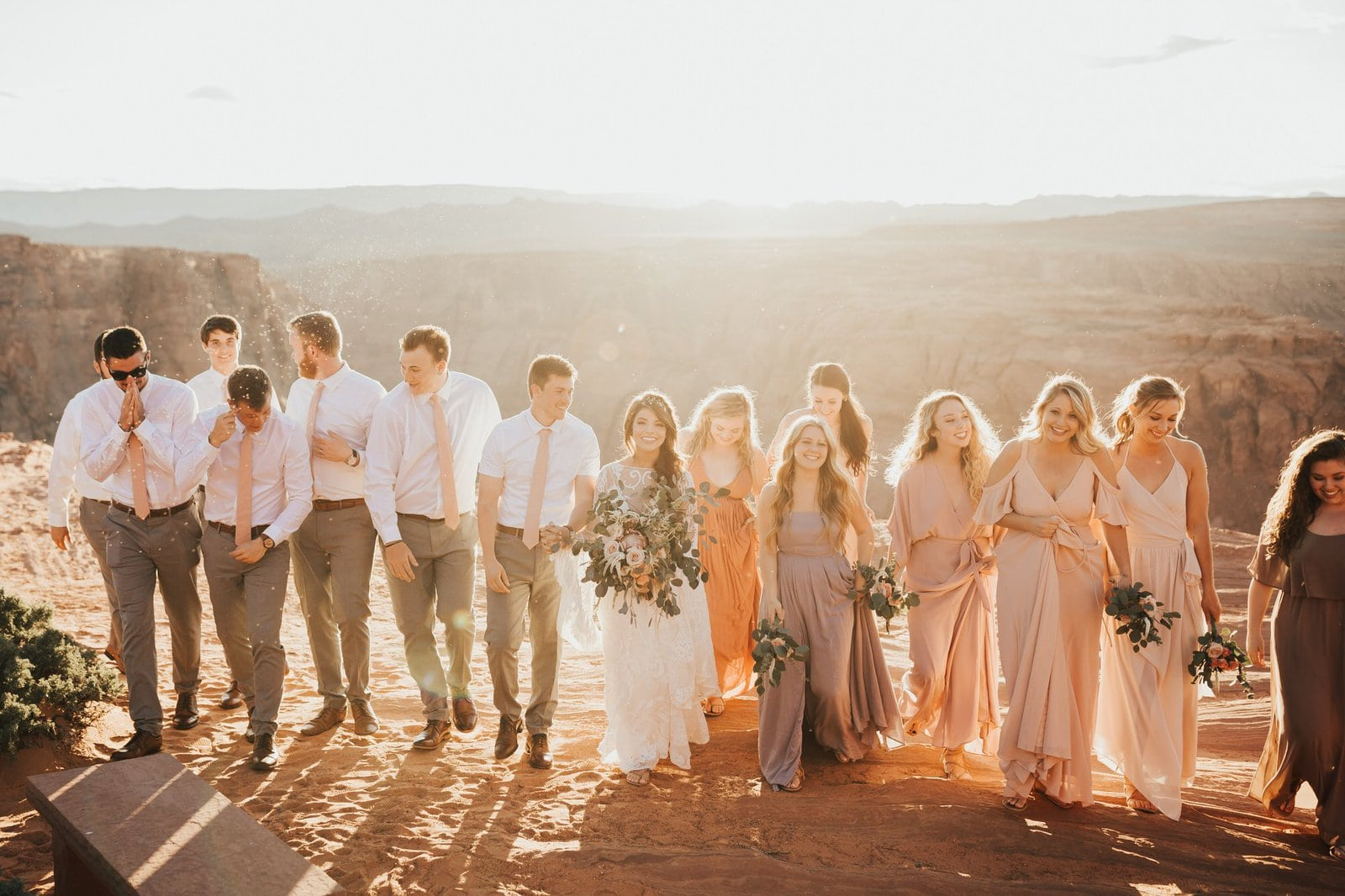 bridal party at horseshoe bend in Arizona.