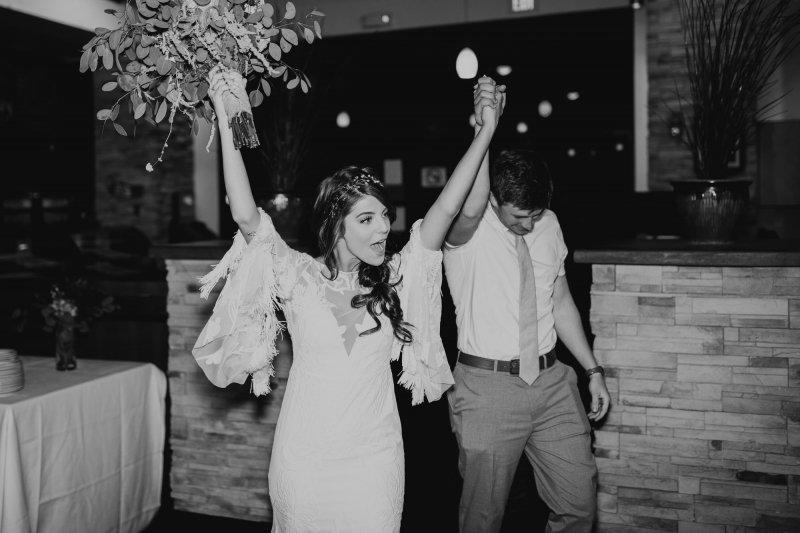 Bride celebrates wedding in Arizona.