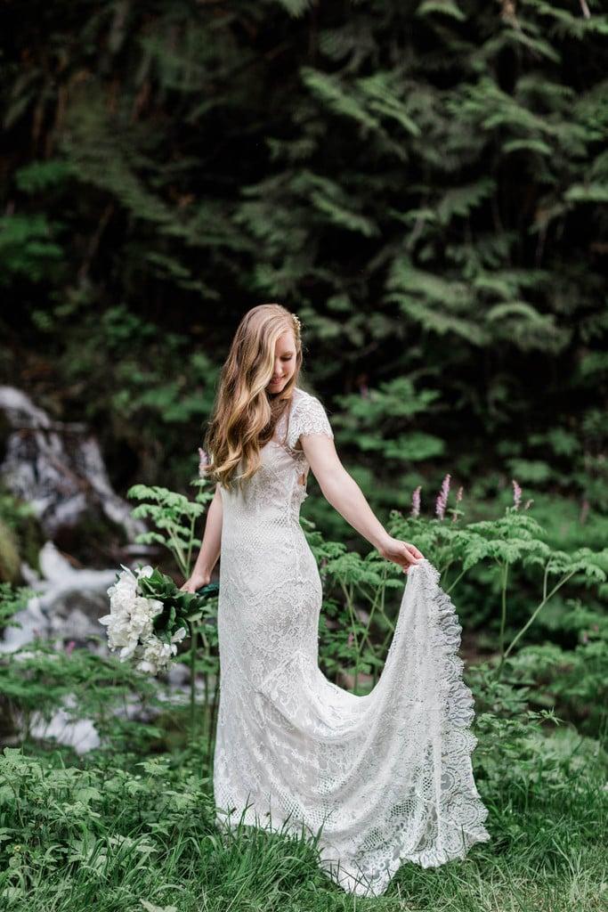 bridal portrait of bride in her BHLDN dress