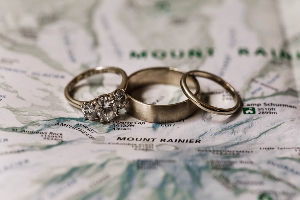 Detail photography of bride and groom rings.