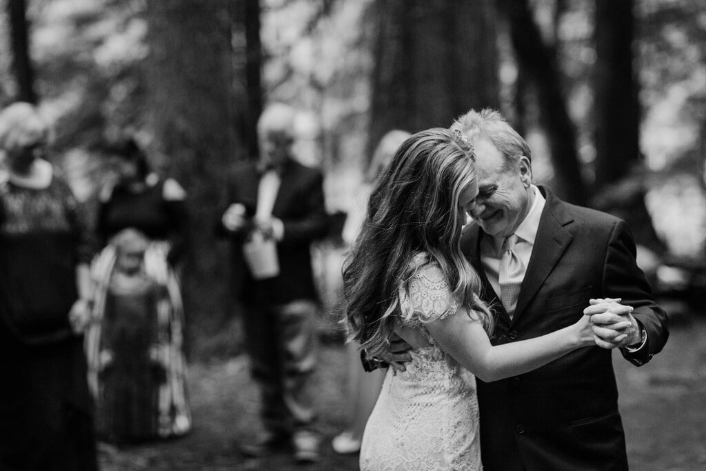 bride and father share a dance at Mount Rainier.