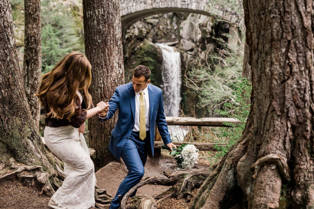bride and groom venture through Mount Rainier.
