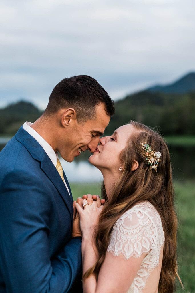 Bride kisses husband.