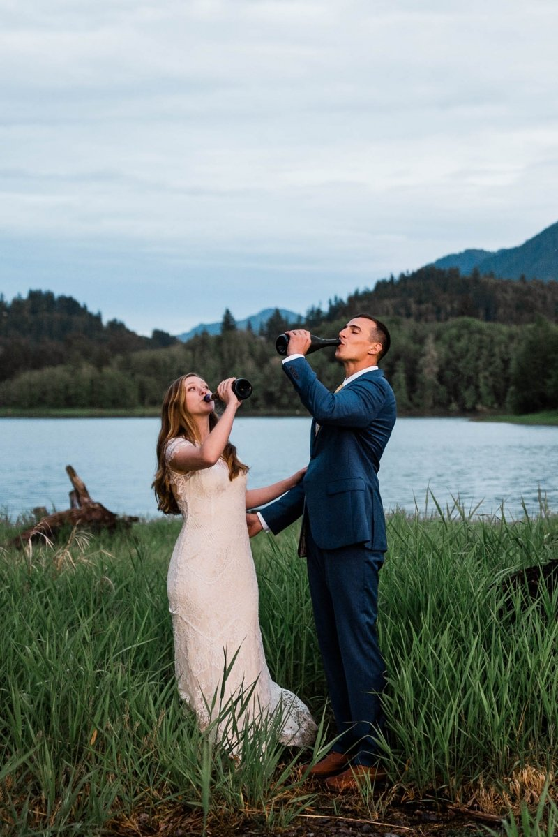 newlyweds toast to their elopement.