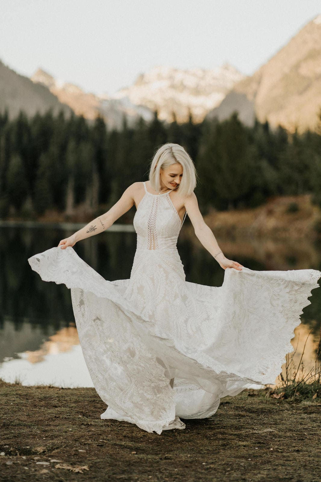 bride twirling in Essense of Australia dress.