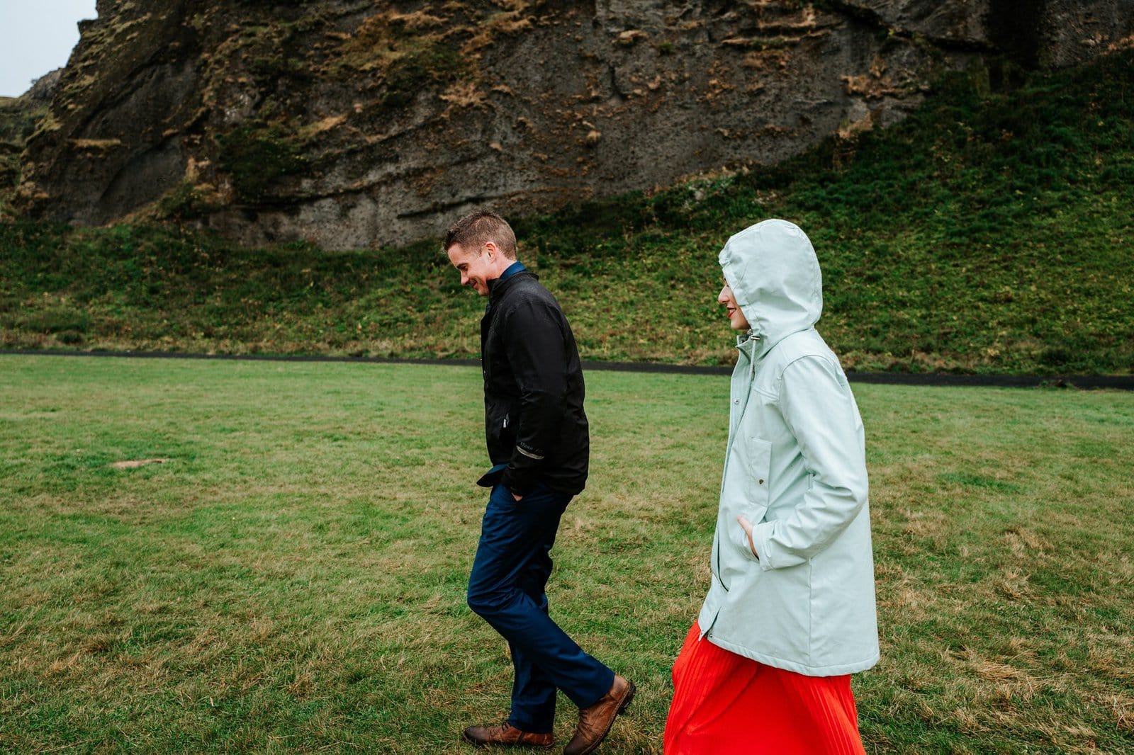 Fun moment in Iceland for wedding session.