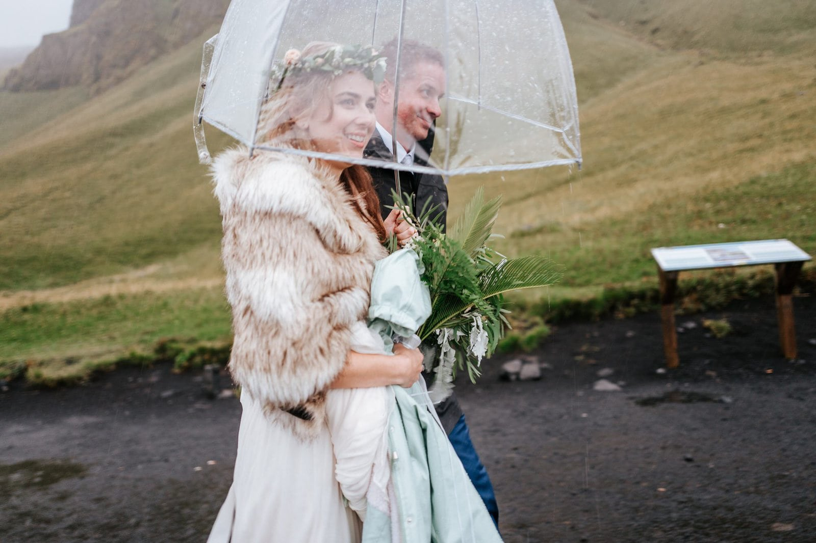 Rainy Iceland wedding.
