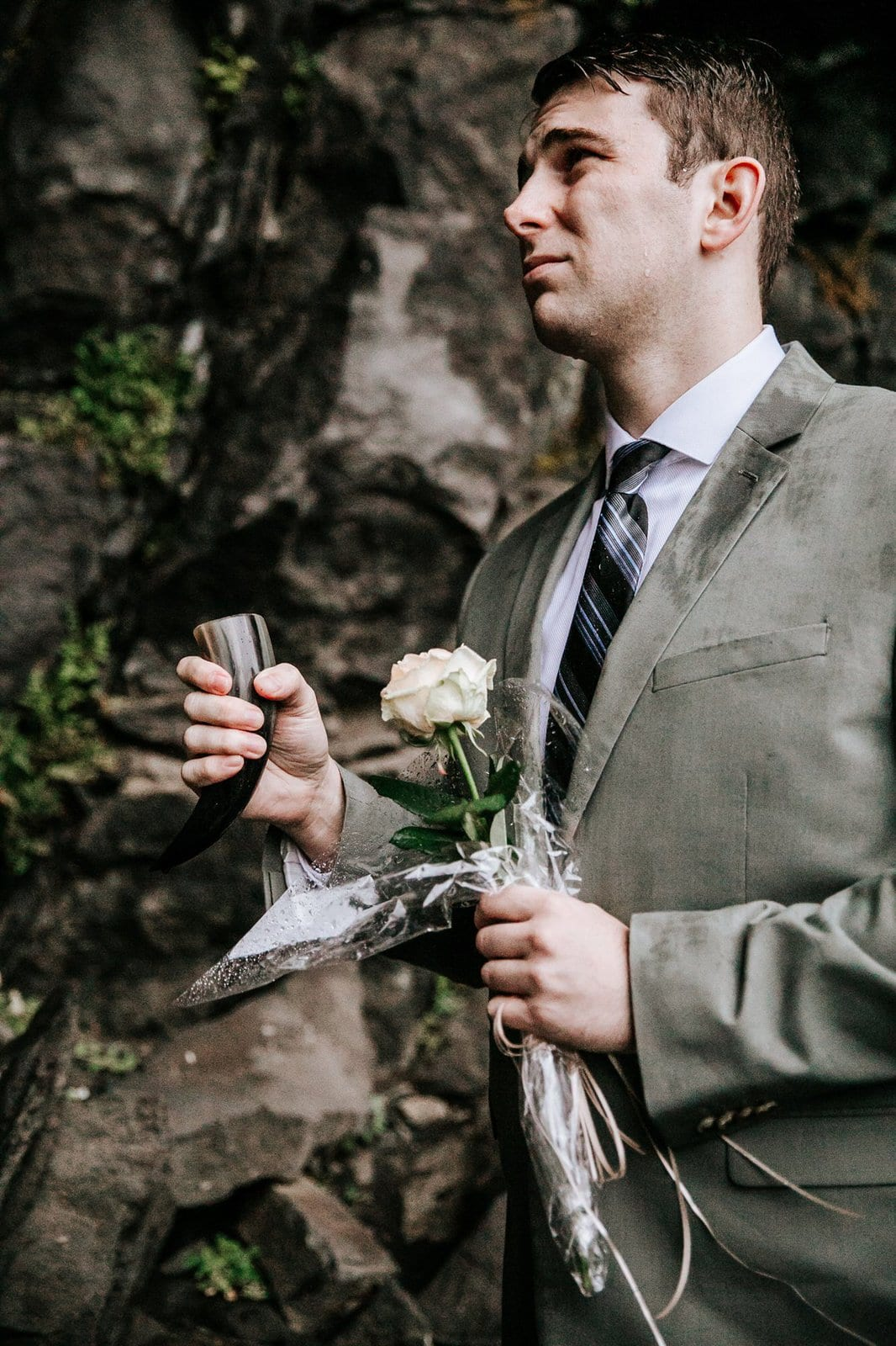 Groom toasting during ceremony.