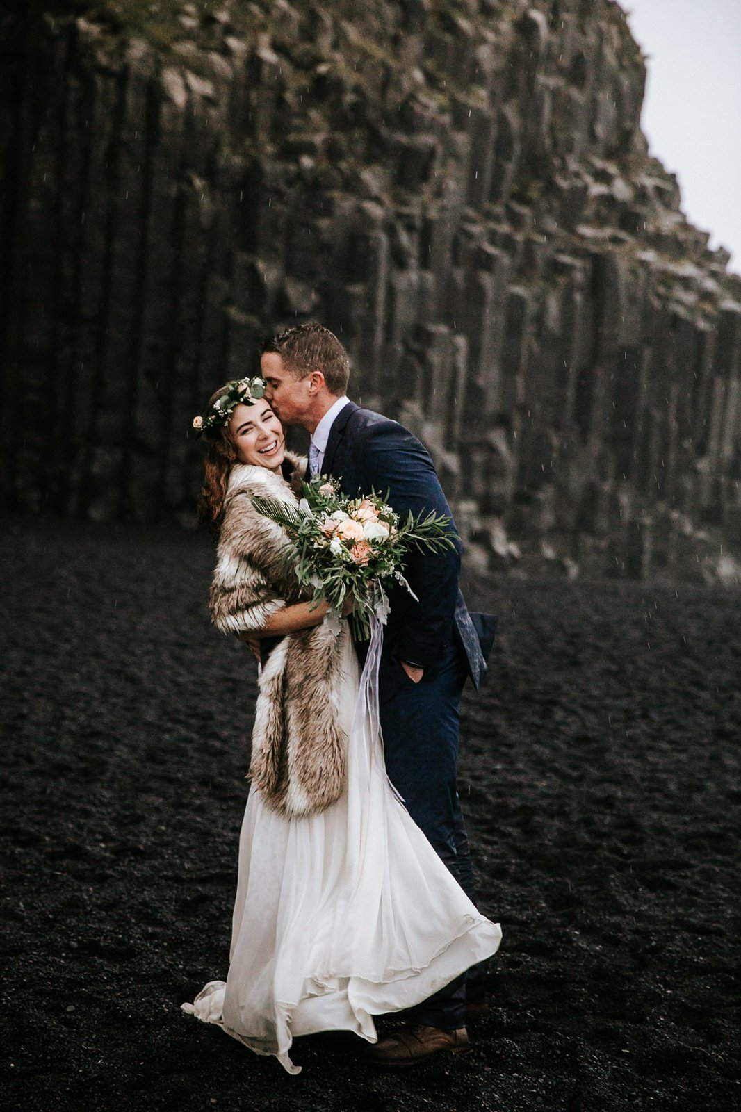 Rainy Iceland Elopement at Reynisfjara Beach