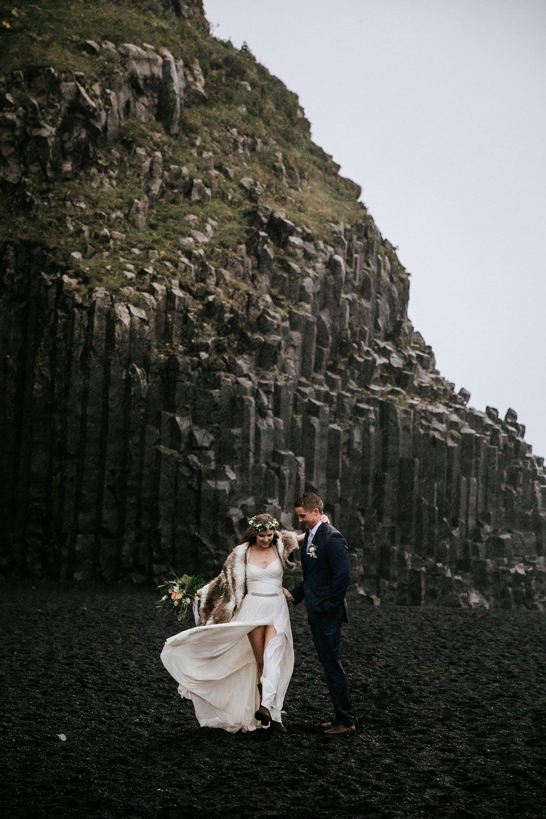 Bride and groom at Reynisfjara beach