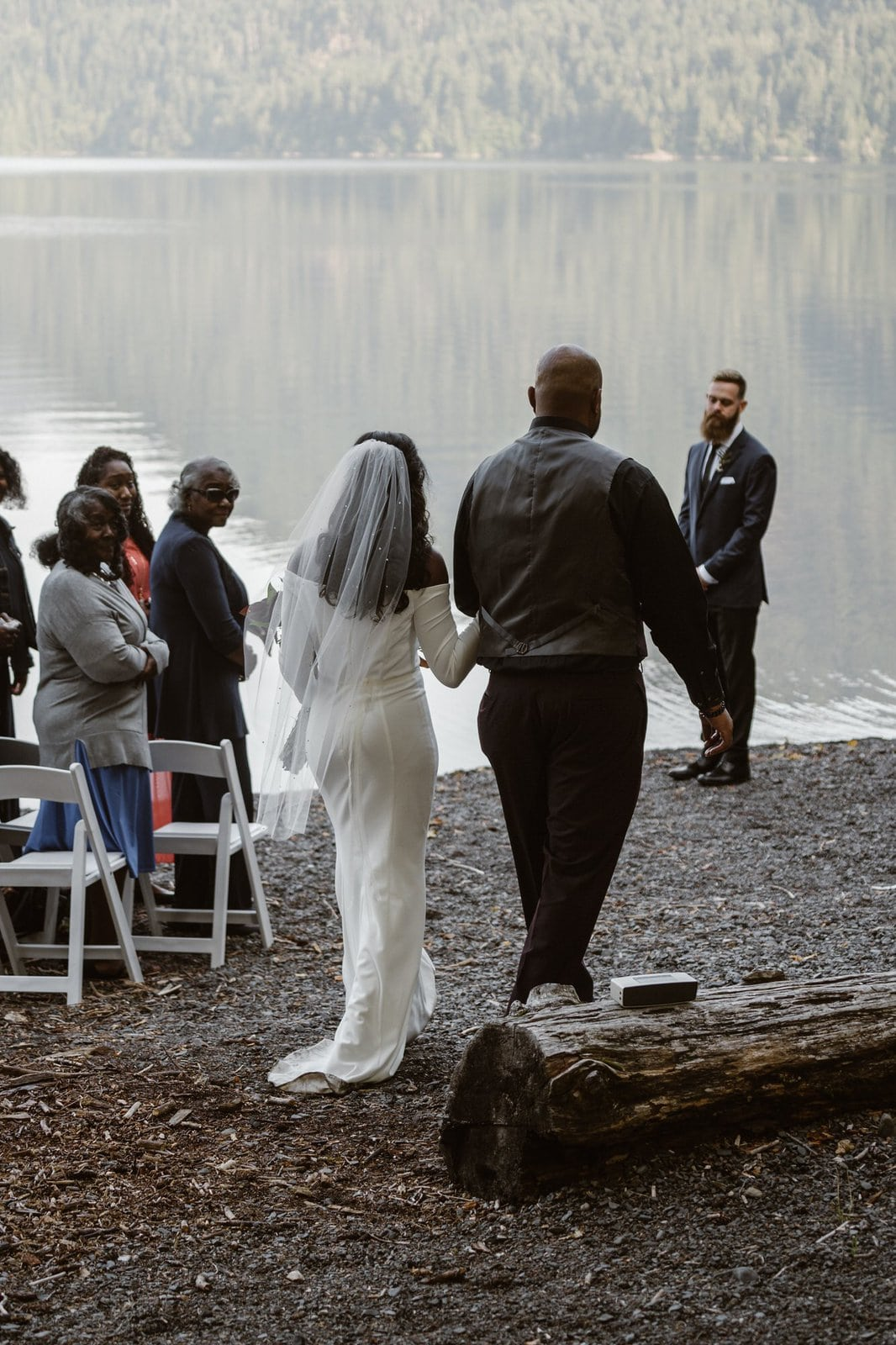 Bride walking down the aisle at Olympic National Park.