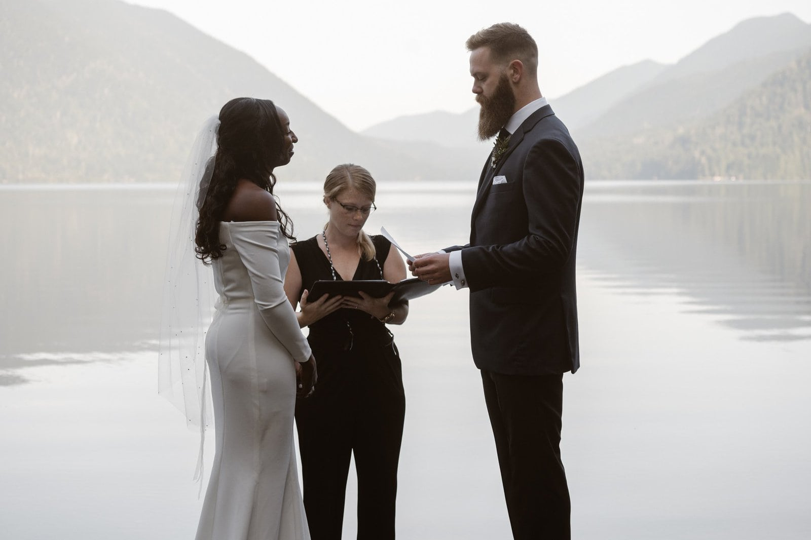 Exchanging vows with the bride.