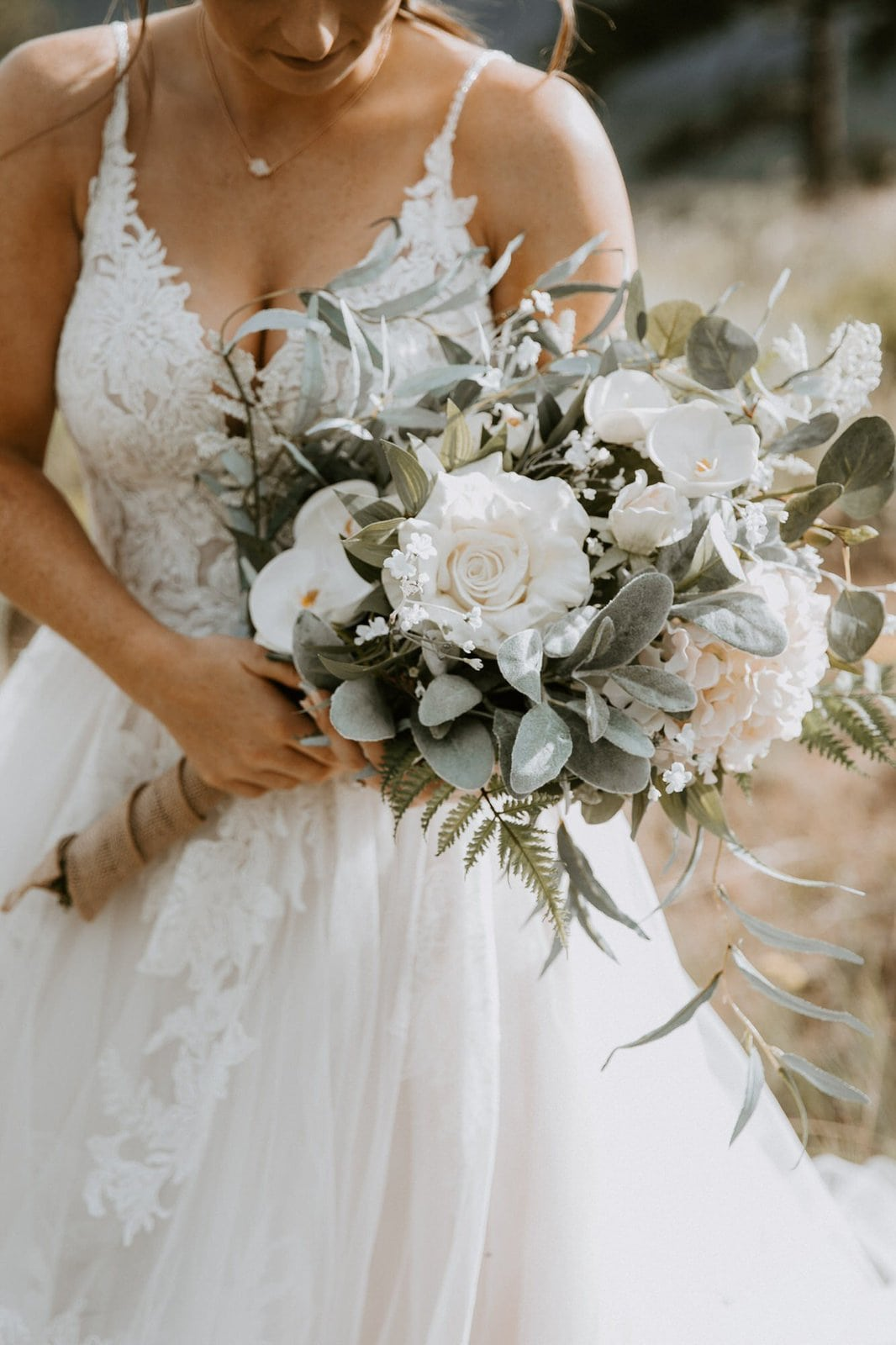 detail photography of bridal bouquet.