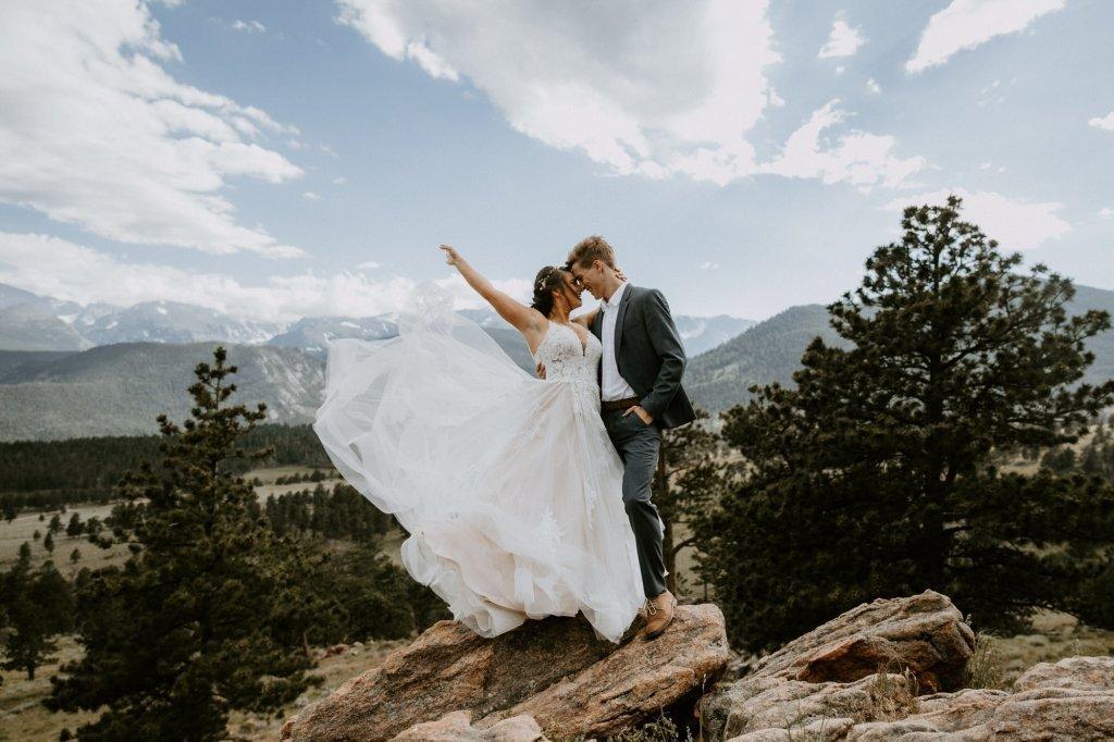 Essence of Australia wedding dress in Rocky Mountain.