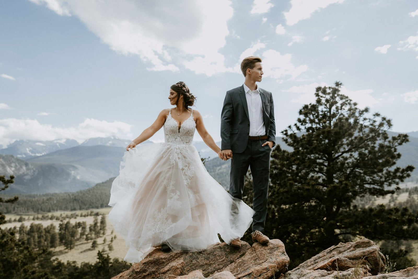 Bridal photography at Rocky Mountain national park.