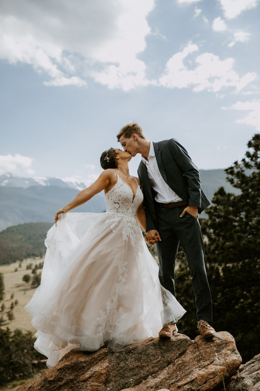 Rocky Mountain wedding kiss