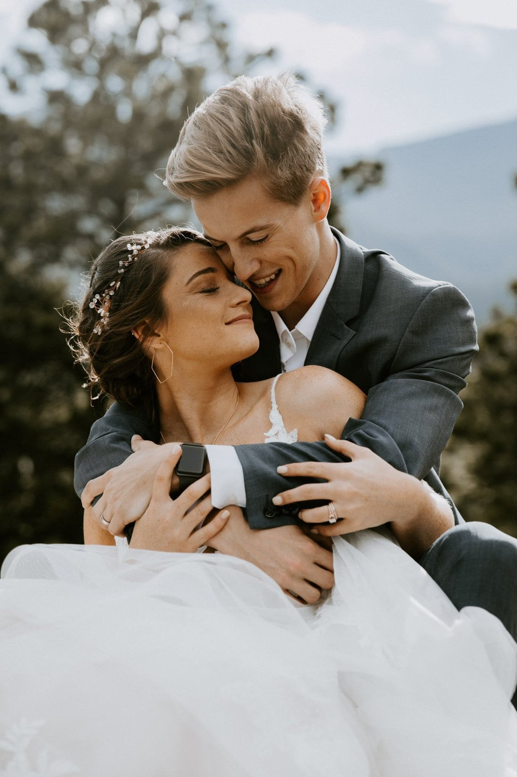 Intimate portrait of bride and groom.