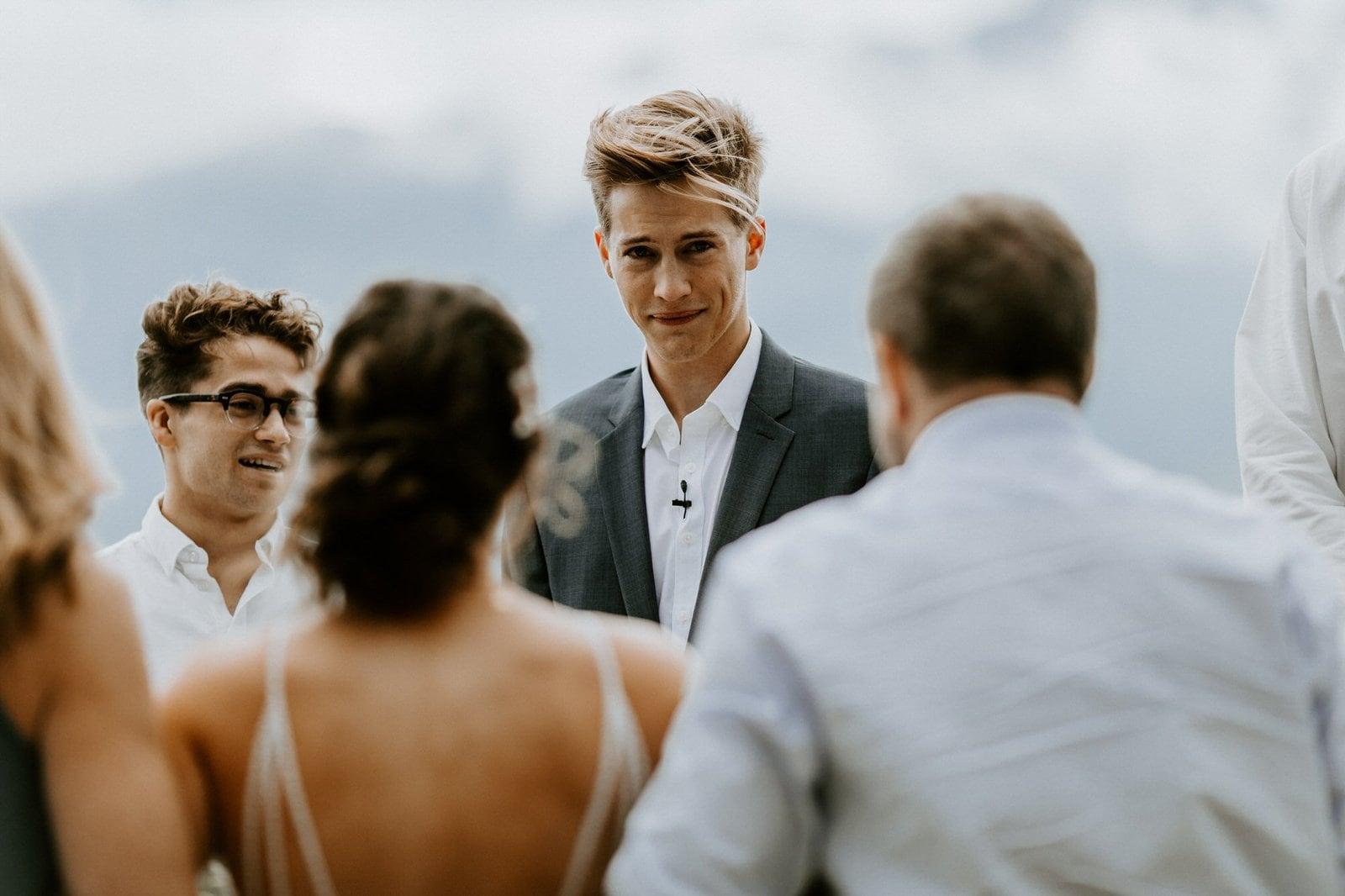groom's first look reaction.